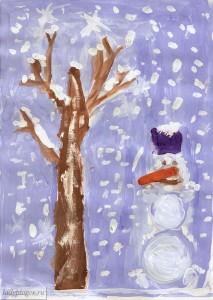 Снеговик. Рисунок моей 6-летней дочки (кликабельно)